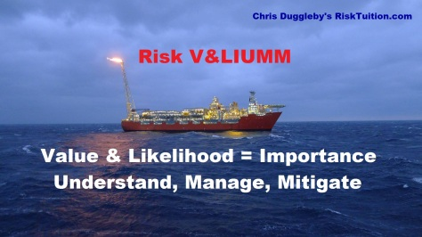 Risk Management summarised using Chris Dugglebys VALIUMM approach (FPSO Vessel photo courtesy of BP p.l.c.)